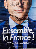 Emmanuel Macron portreta plakat z Bilderberg grupy członka ins Obrazy Royalty Free