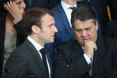 Emmanuel Macron, Sigmar Gabriel Lizenzfreie Stockbilder