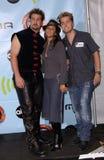 Emmanuelle Chriqui,Joey Fatone,Lance Bass,NSYNC,*NSYNC. Actress EMMANUELLE CHRIQUI with *NSync stars JOEY FATONE (left) & LANCE BASS at the 2001 Radio Music Royalty Free Stock Images