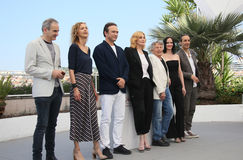 Emmanuelle Seigner, Roman Polanski, Eva Green. Attend the `Based On A True Story` photocall during the 70th Cannes Film Festival at Palais des Festivals on May Royalty Free Stock Photos
