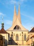 Emmaus Monastery Na Slovanech, aka Emauzy, with two modern spiky towers, Prague, Czech Republic Royalty Free Stock Photo