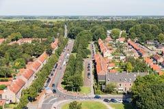 Emmeloord,荷兰鸟瞰图住宅区  免版税库存照片