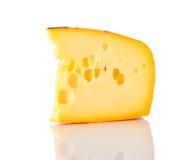 Ελβετικό τυρί τυριού Emmental στο λευκό Στοκ Εικόνα