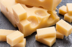 Emmental cheese cut Stock Image
