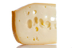Emmental on white Stock Photos