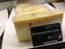 Emmentaler cheese for sale in Switzerland Stock Photo