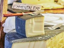 VIENNA, AUSTRIA - SEPTEMBER 8, 2017. Emmentaler cheese in Tirol House at the Schonbrunn zoo, Vienna, Austria. Emmentaler cheese in Tirol House at the Schonbrunn Royalty Free Stock Image