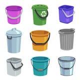 Emmer en emmerreeks Lege containers met handvat, afvalbakken en emmers met water Beeldverhaal geïsoleerde reeks stock illustratie