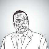Emmerson Mnangagwa the President of Zimbabwe. Vector Portrait Caricature Drawing. November 27, 2017 stock illustration
