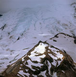 Emmons Glacier and advancing storm from the Sunrise Rim Trail, Mt. Rainier National Park, Washington stock photography