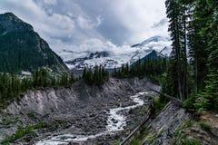 Emmons Moraine, Mt. Rainier National Park. Emmons Morraine Trail In Mt. Rainier National Park stock photos