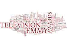 Emmy Awards Text Background  Word Cloud Concept Stock Photo