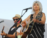 Emmylou Harris and band on stage at Newport Folk Festival Stock Photo