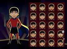 A emoção dos desenhos animados da menina do super-herói enfrenta a ilustração do vetor Fotos de Stock Royalty Free