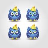 Emoção feliz do feriado da coruja azul Foto de Stock Royalty Free