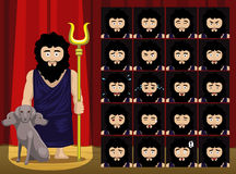 A emoção grega dos desenhos animados do traje de Hades dos deuses enfrenta a ilustração do vetor ilustração do vetor