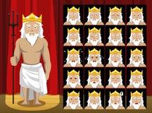 A emoção grega dos desenhos animados do traje de Poseidon dos deuses enfrenta a ilustração do vetor Fotografia de Stock Royalty Free