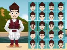 A emoção popular dos desenhos animados do menino de Macedônia enfrenta a ilustração do vetor Fotografia de Stock