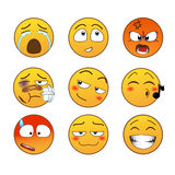 Emoções amarelas ajustadas Imagens de Stock