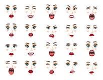 Emoções cômicas Expressões faciais das mulheres, gestos, decepção do êxtase da tristeza da aversão da surpresa da felicidade das  ilustração do vetor