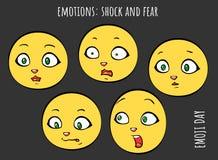 Emoções - choque e medo - grupo do vetor de emoji ilustração do vetor
