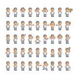 Emoções da arte do pixel e ações dos povos Fotos de Stock Royalty Free