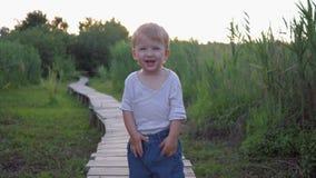 Emoções da felicidade, menino alegre da criança pequena que anda na ponte de madeira bootlessly fora entre a vegetação alta video estoque