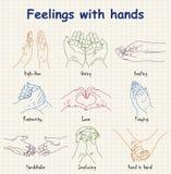 Emoções desenhados à mão - sentimentos com mãos Imagens de Stock