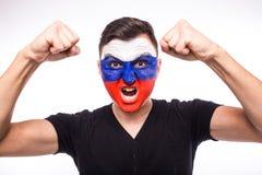 Emoções do grito do objetivo do fan de futebol do russo no apoio do jogo da equipa nacional de Rússia Imagem de Stock