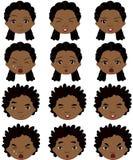 Emoções do menino e da menina do Afro: alegria, surpresa, medo, tristeza, amargura Imagem de Stock