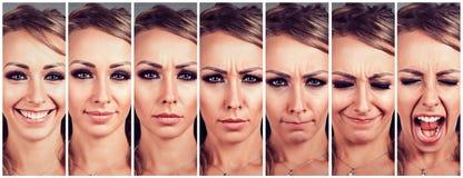 Emoções em mudança da jovem mulher de estar feliz a obter a virada e a gritar irritado Fotos de Stock