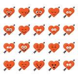 Emoções engraçadas do caráter do coração dos desenhos animados do grupo grande ajustadas Imagem de Stock Royalty Free