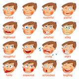 Emoções. Expressões faciais dos desenhos animados Foto de Stock Royalty Free