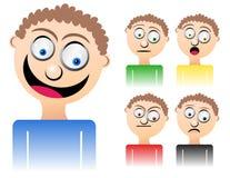 Emoções misturadas do homem dos desenhos animados Foto de Stock