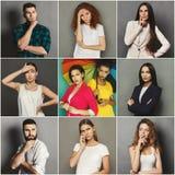 Emoções pensativas diversas dos jovens ajustadas Imagem de Stock Royalty Free