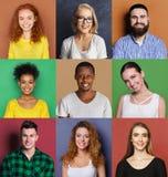 Emoções positivas diversas dos jovens ajustadas Fotos de Stock