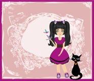 Emo女孩和她的猫 免版税库存照片