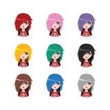 Emo女孩- 9种不同头发颜色 免版税库存照片