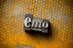 Emo. The word Emo photographed using a mix of vintage letterpress characters stock image