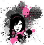 Emo. Vector illustration of emo girl in stains Stock Photography