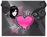 Emo background. Grey background with emo girl and heart Stock Photos