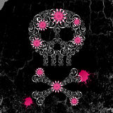 Emo  background. Grunge emo  background with skull and flowers Royalty Free Stock Images