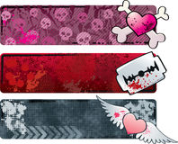 Emo Banners. Three grungy emo banners. CMYK vector illustration EPS file included, with global colors Royalty Free Stock Image