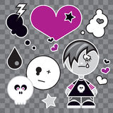 EMO BOY. Funny Cute character and icons of emo tribe Stock Photos
