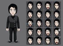 Emo Boy Cartoon Emotion gothique fait face à l'illustration de vecteur Photos stock