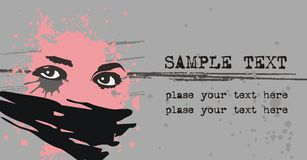 Emo card. Vector background with the face of the girl and the text Royalty Free Stock Image