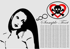 Emo.cdr. Beautiful emo girl with symbolic background stock illustration