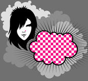 Emo-clouds. Clouds background with emo girl Royalty Free Stock Images