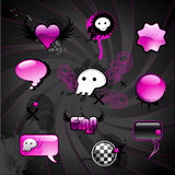 Emo elements. Collection of emo-styled design-elements and web-buttons Stock Photo