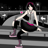 Emo girl. Illustration of a girl and night city Stock Image